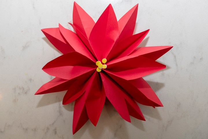 Paper Poinsettia Holiday Gift Wrapping Idea