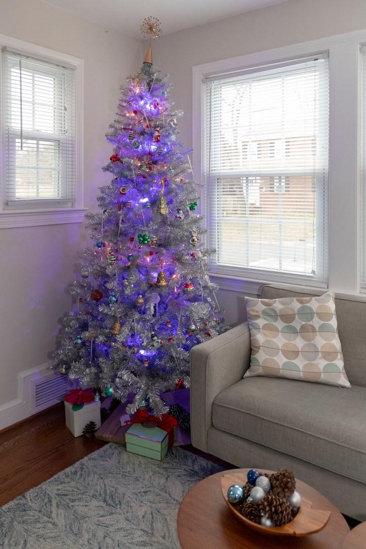 Vintage look silver Christmas Tree