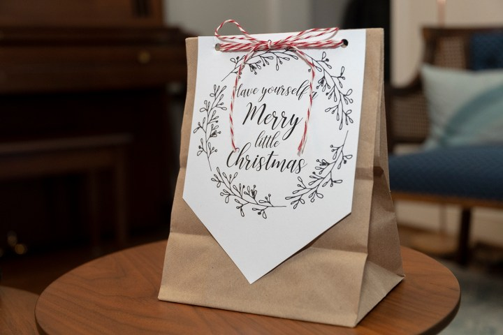 Christmas brown paper gift bag