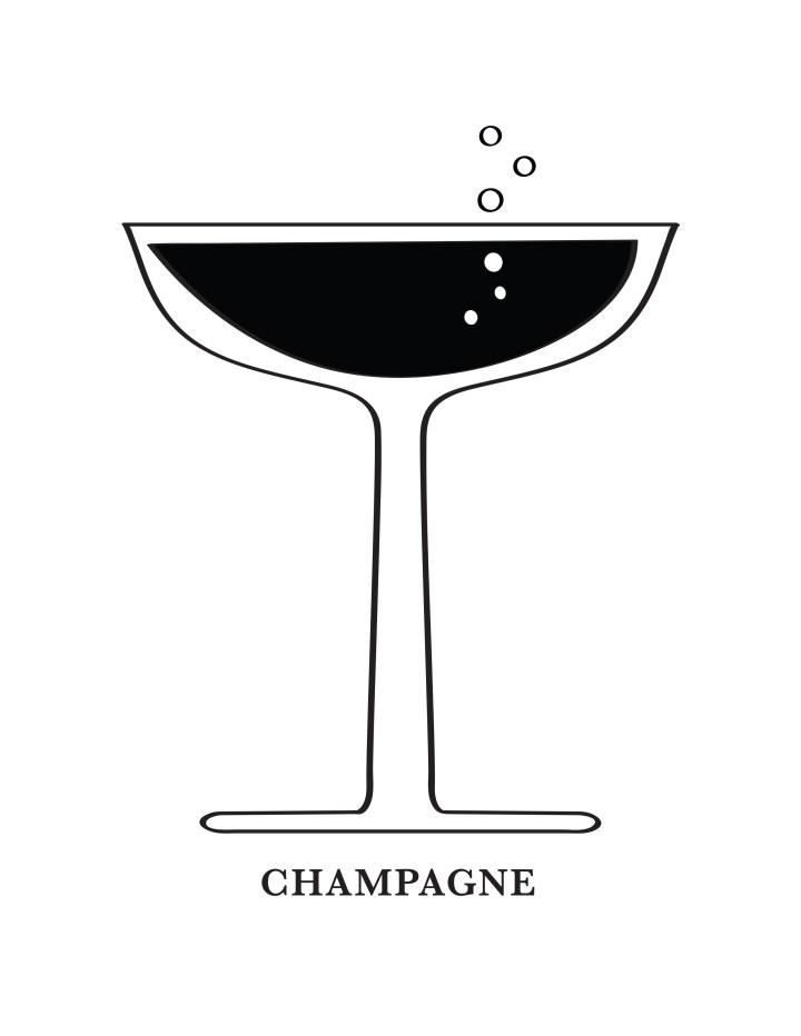 Champagne Glass Art Printable