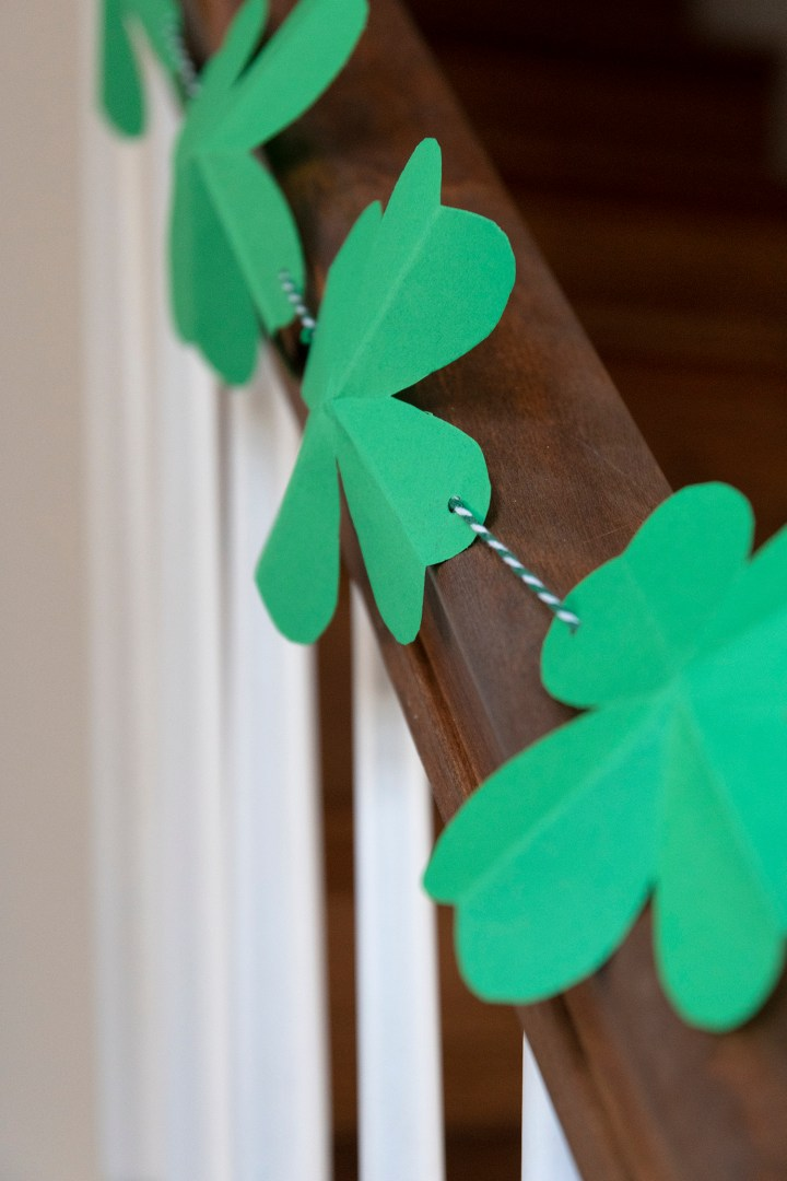 A shamrock garland for St. Patrick's Day party decorations