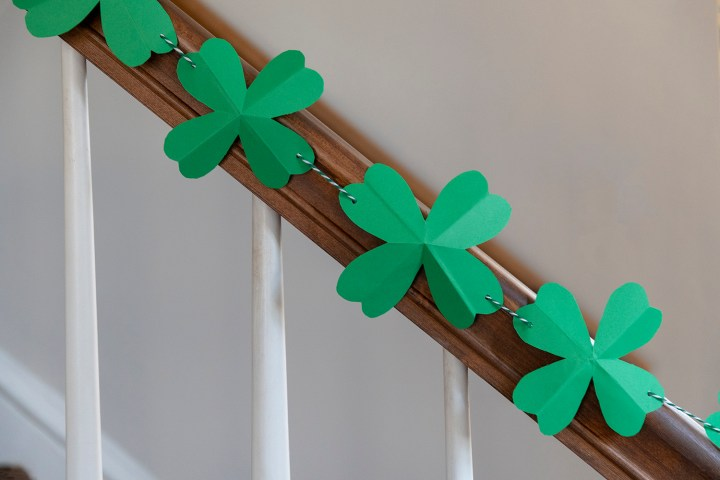 Homemade paper shamrock garland for St. Patrick's Day