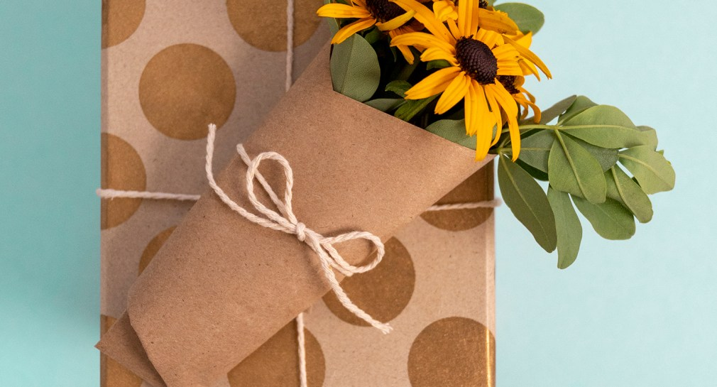 Gift Wrapping with a Small Floral Bouquet