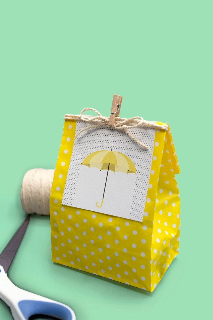 Free Printable Umbrella in the Rain Gift tags DIY