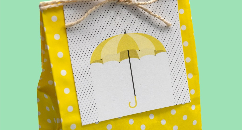 Free Printable Yellow Umbrella Baby Shower Tags