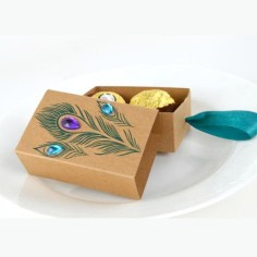 Peacock Fan Wedding Favor Box