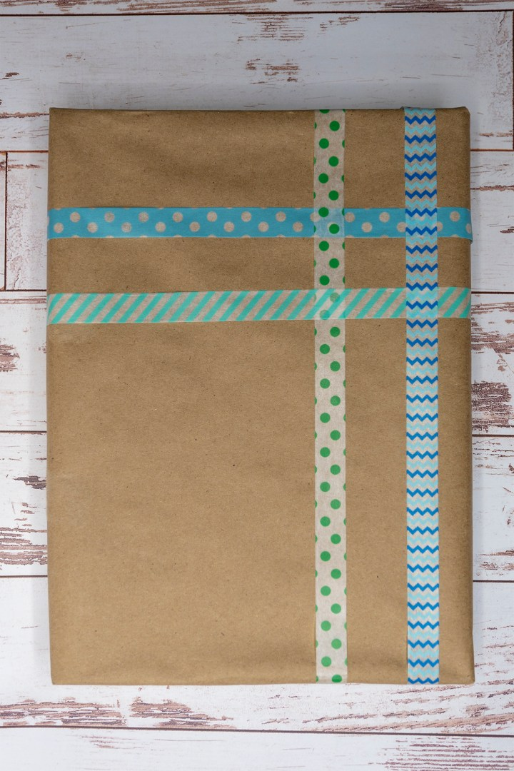 Plaid gift wrapping with washi tape