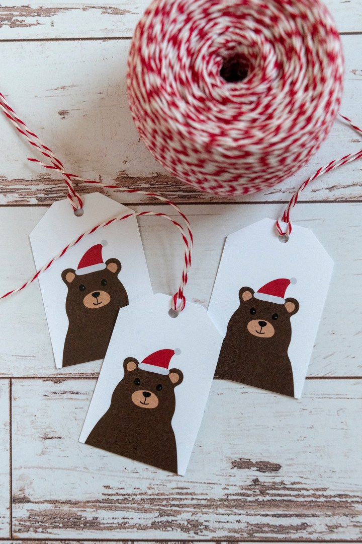 Free Printable Download Bear in Santa Hat Tags