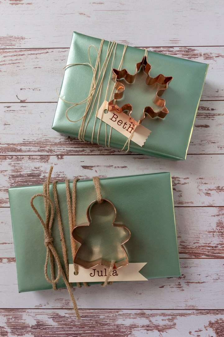 Copper Cookie Cutter Christmas Gift Wrapping