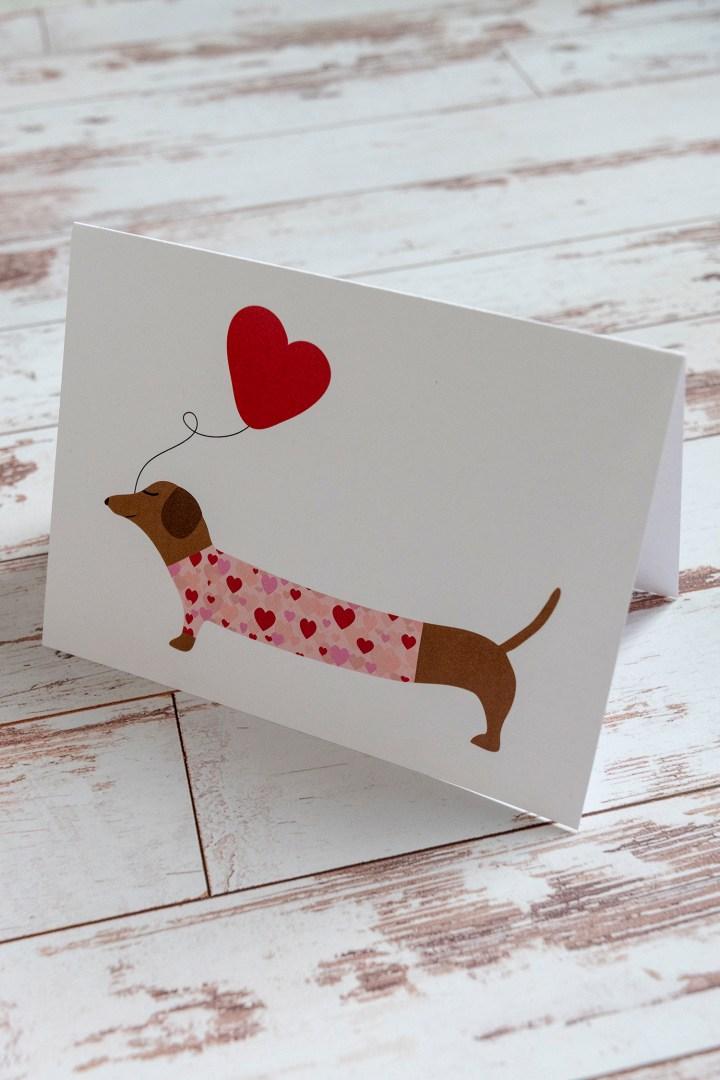 Free Printable Dachshund Valentine Card