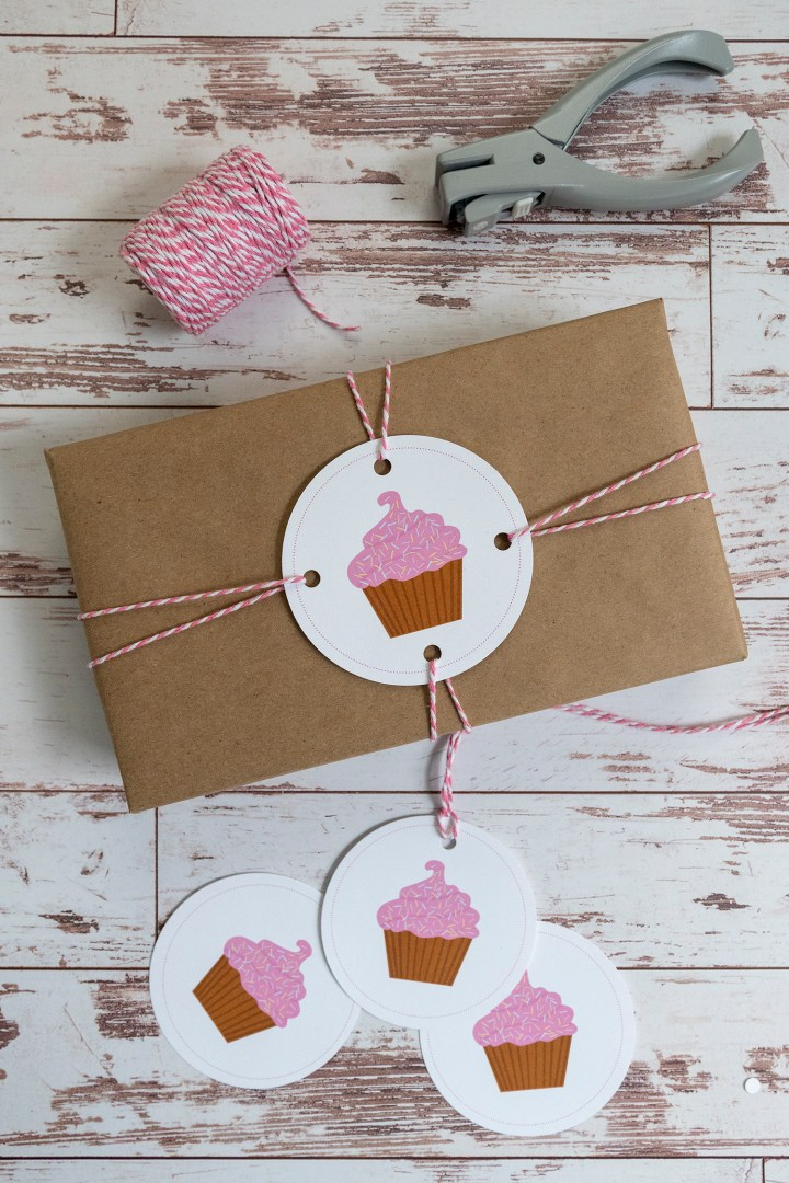 Free Printable Pink Cupcake Gift Tags