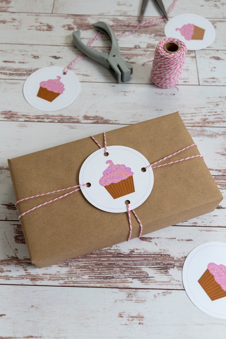 Adorable Pink Cupcake Circle Gift Wrapping Topper