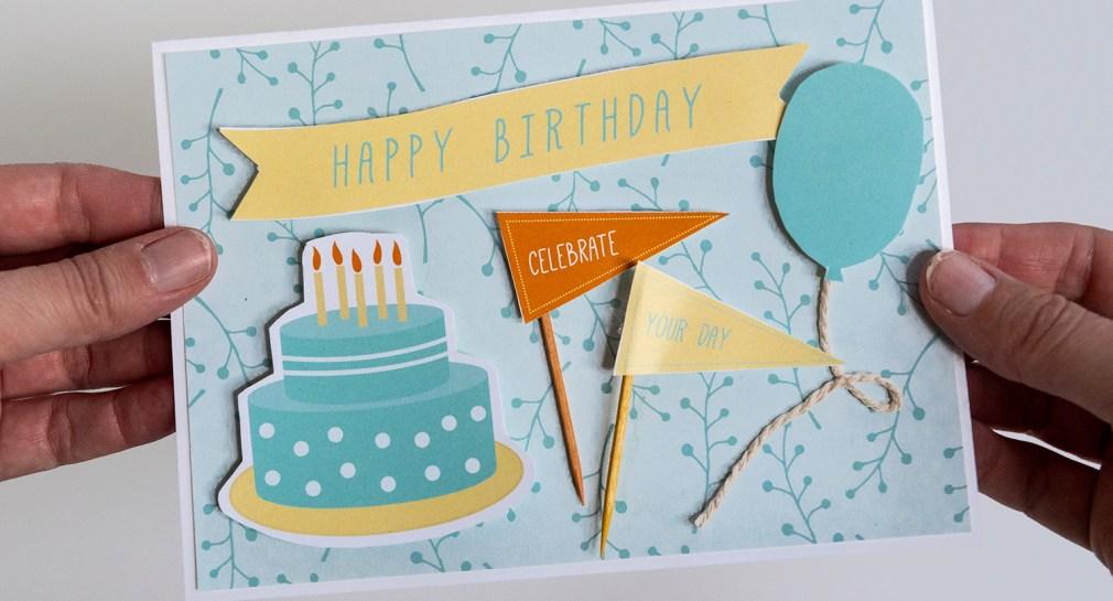 Make a Birthday Card with Free Printable Ephemera