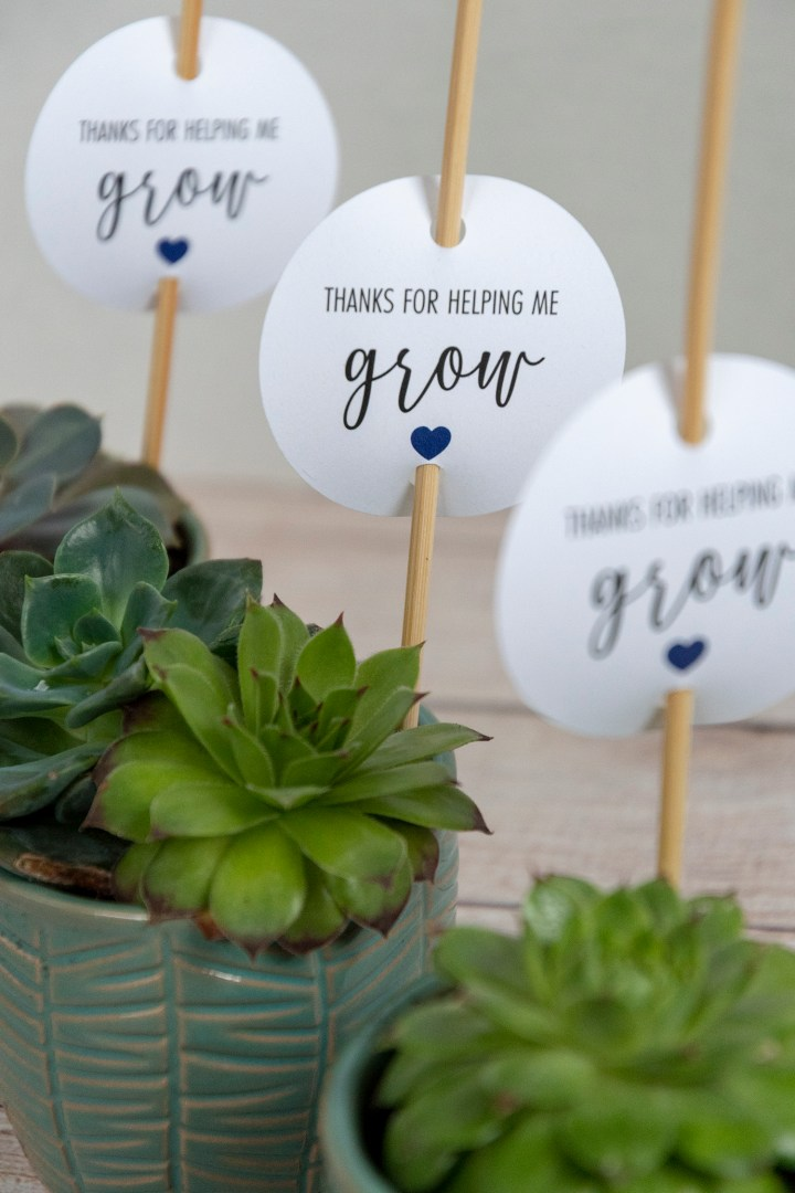 Thanks For Helping Me Grow Printable Tags
