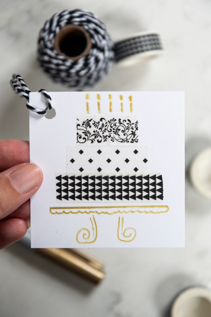 How to Make Birthday Cake Gift Tags With Washi Tape