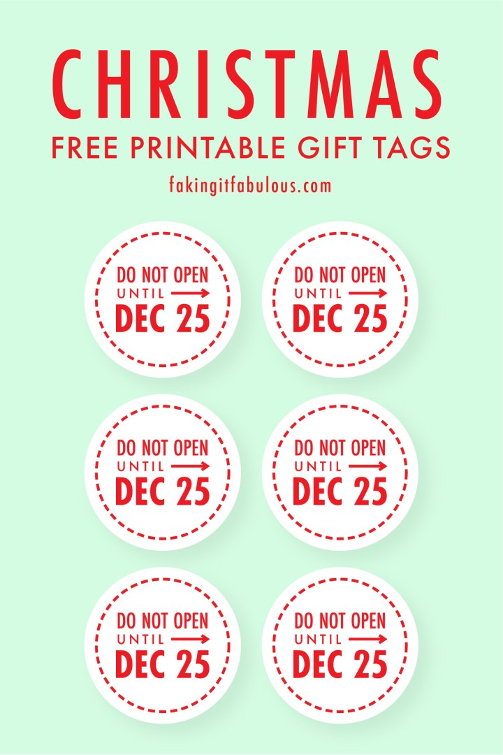 Do Not Open Until December 25 Gift Tags