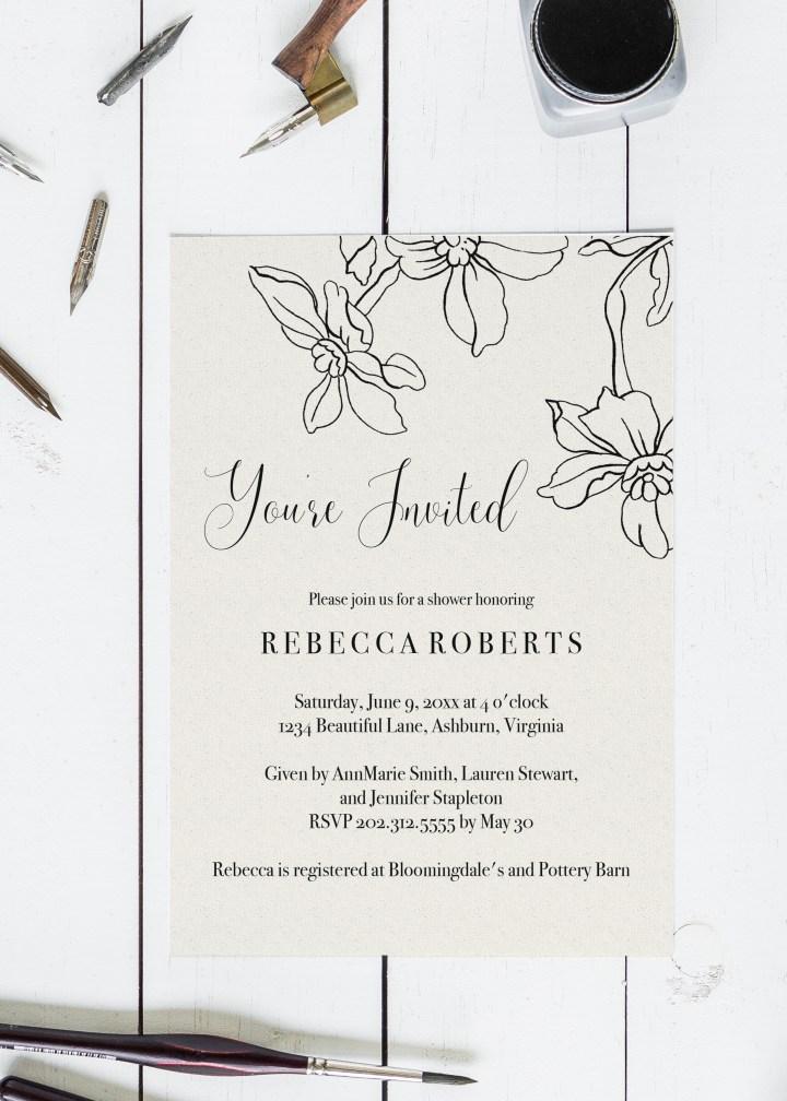 Free Printable & Editable Floral Shower Invitation