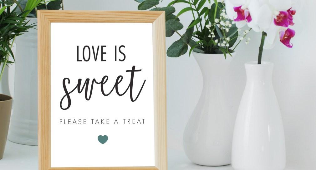 Free Printable Love is Sweet Sign