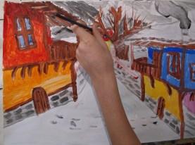 """Детска рисунка """"Зимен пейзаж"""""""