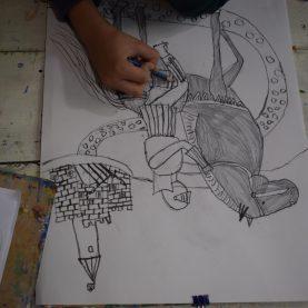 Урок по рисуване с туш и перо - за деца в Школата Арт Джунгла.