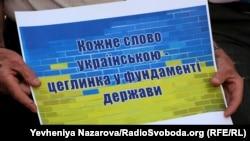 Під час акції на підтримку української мови. Запоріжжя, 16 липня 2020 року
