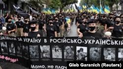 Під час «Маршу захисників» до Дня Незалежності України. Київ, 24 серпня 2020 року