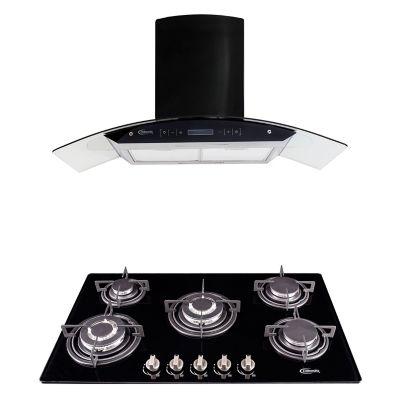 Combo Klimatic Cocina Empotrable Glassy Plus 5 Quemadores