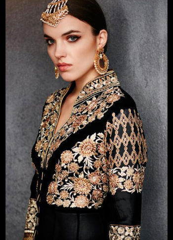 Black and Gold Embroidered Trail Anarkali