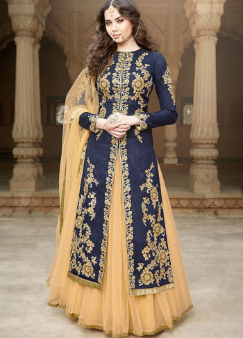 Navy Blue and Beige Embroidered Lehenga Anarkali