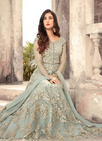 Blue Grey and Gold Embroidered Anarkali Gown