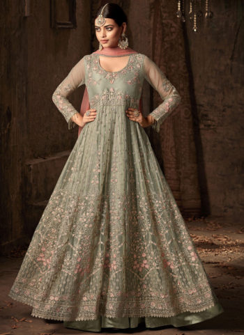 Light Green and Pink Embroidered Anarkali Gown