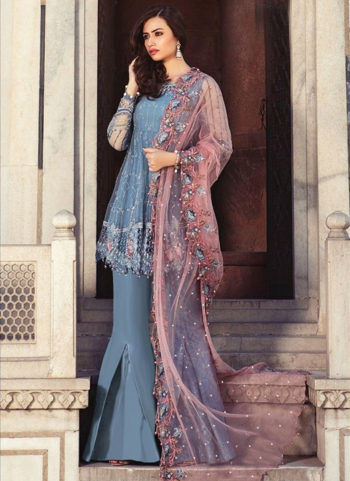 Grey and Light Pink Embroidered Pakistani Style Suit