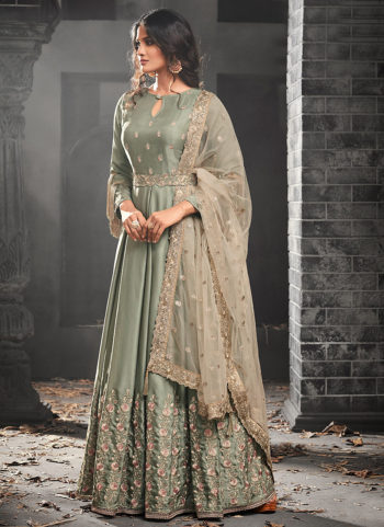 Light Green and Pink Floral Embroidered Anarkali