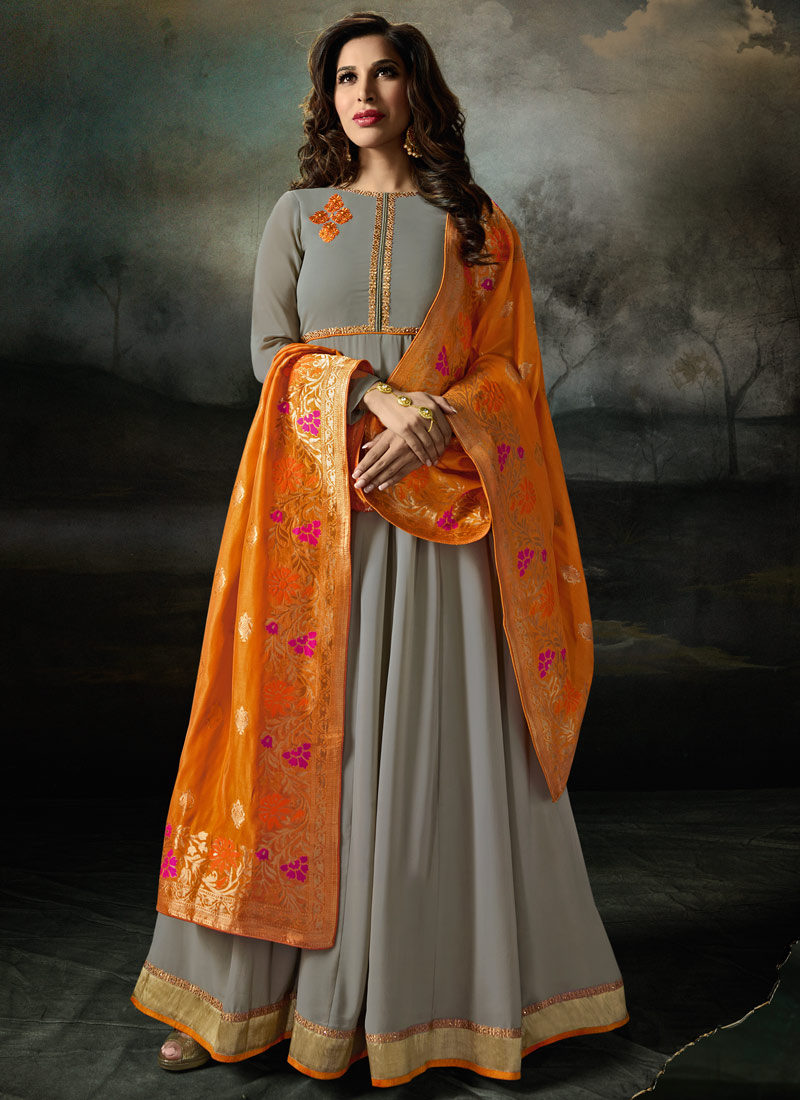 Grey and Orange Embroidered Anarkali