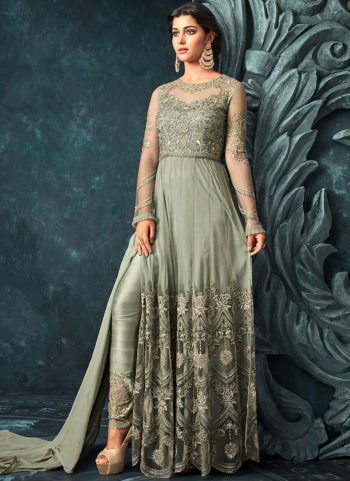 Mint Green Embroidered Lehenga/ Pant Style Anarkali