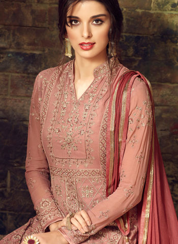 Light Peach Embroidered Straight Suit
