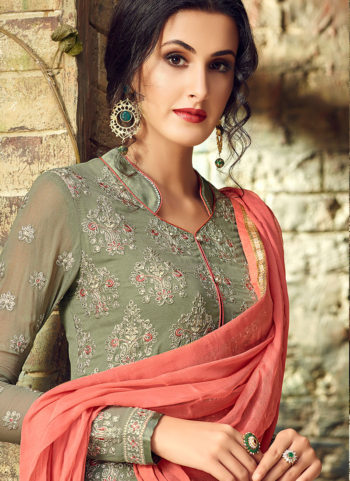 Green Embroidered Straight Suit