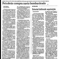 FHC comprou navio bombardeado em 1997 para a Petrobrás