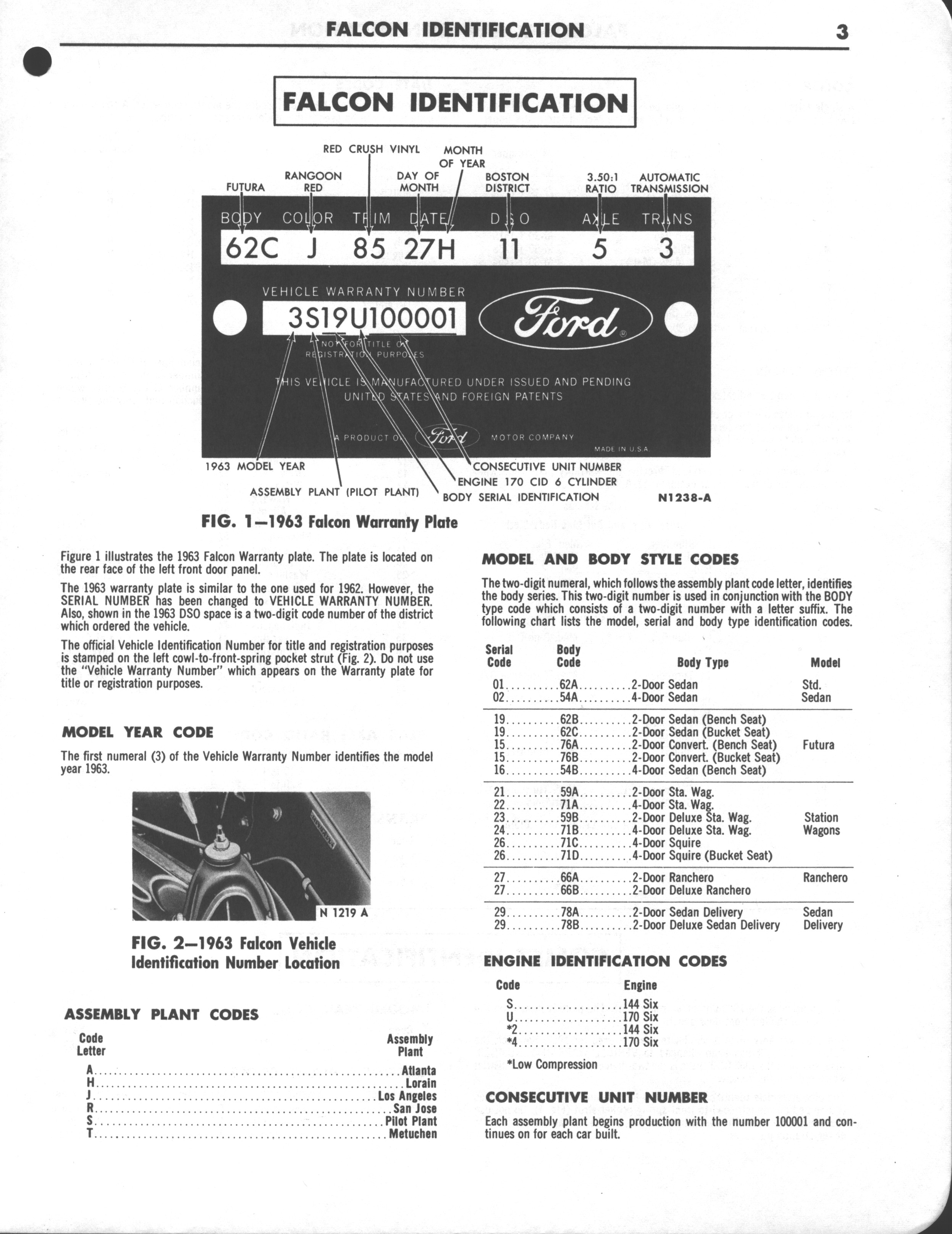 Falcon Shop Manual Supplement, 1963: Page 3