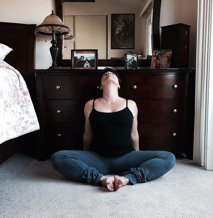 yoga Baddha konasana Bound angle pose w/ neck extension