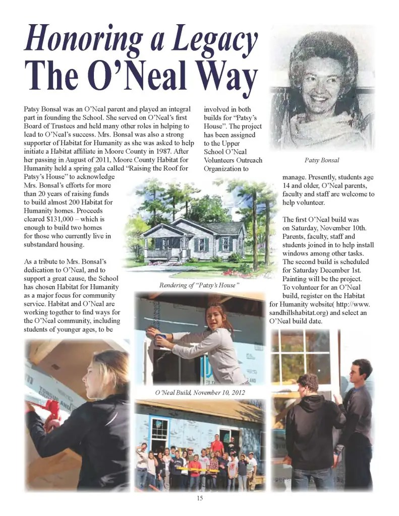 ONVO takes the lead on a school-wide Habitat Build honoring founding parent and trustee Patsy Bonsal.