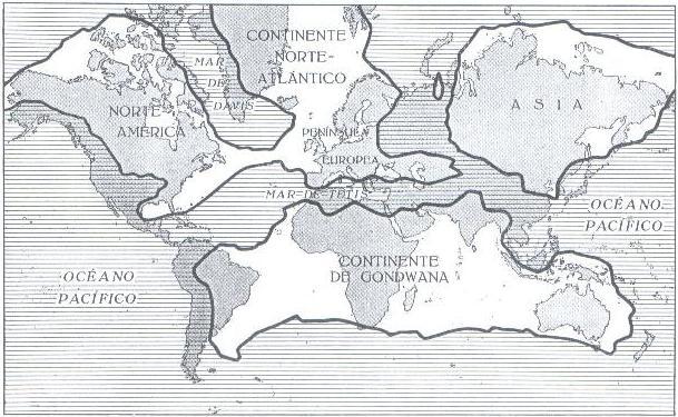 O mundo no carbonífero, segundo as pontes continentais.
