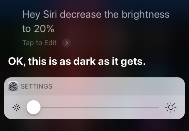 control system settings with Siri