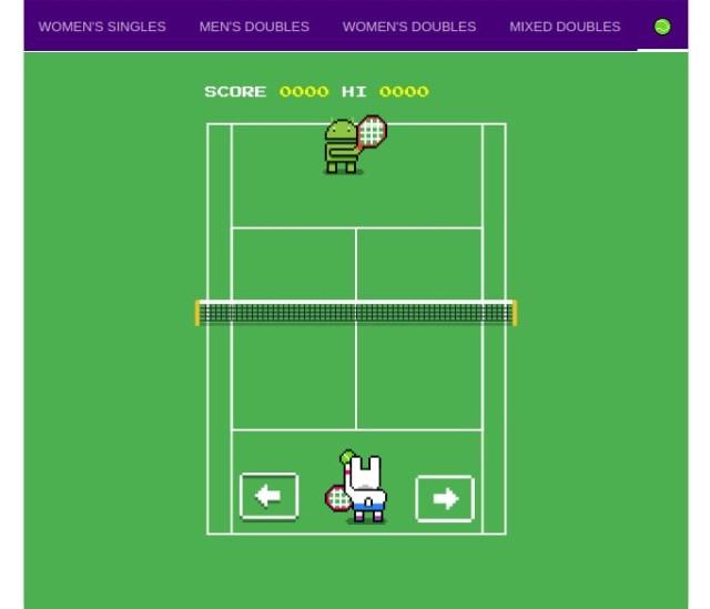 Wimbledon Tennis Game on Google