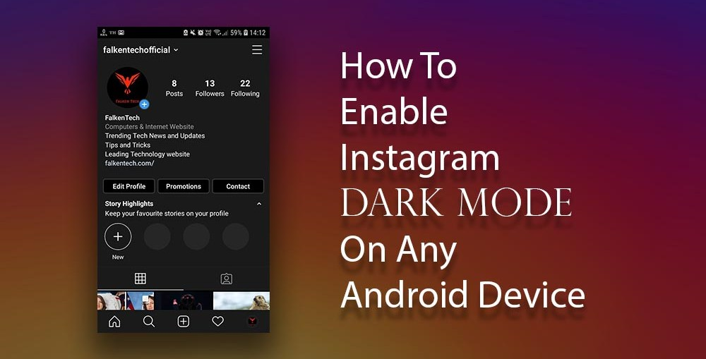 how to enable instagram dark mode android