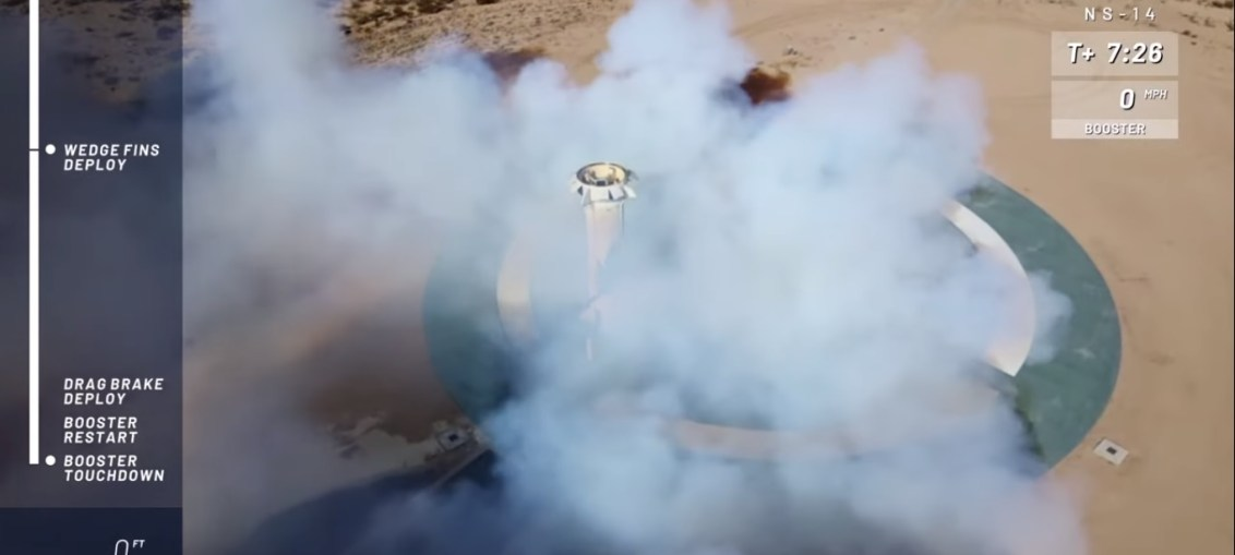 Blue Origin New Shepard rocket lands successfully after a launch from West Texas launch site