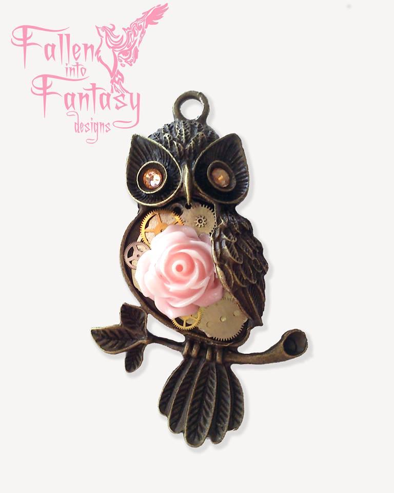 Steampunk Rose cameo owl