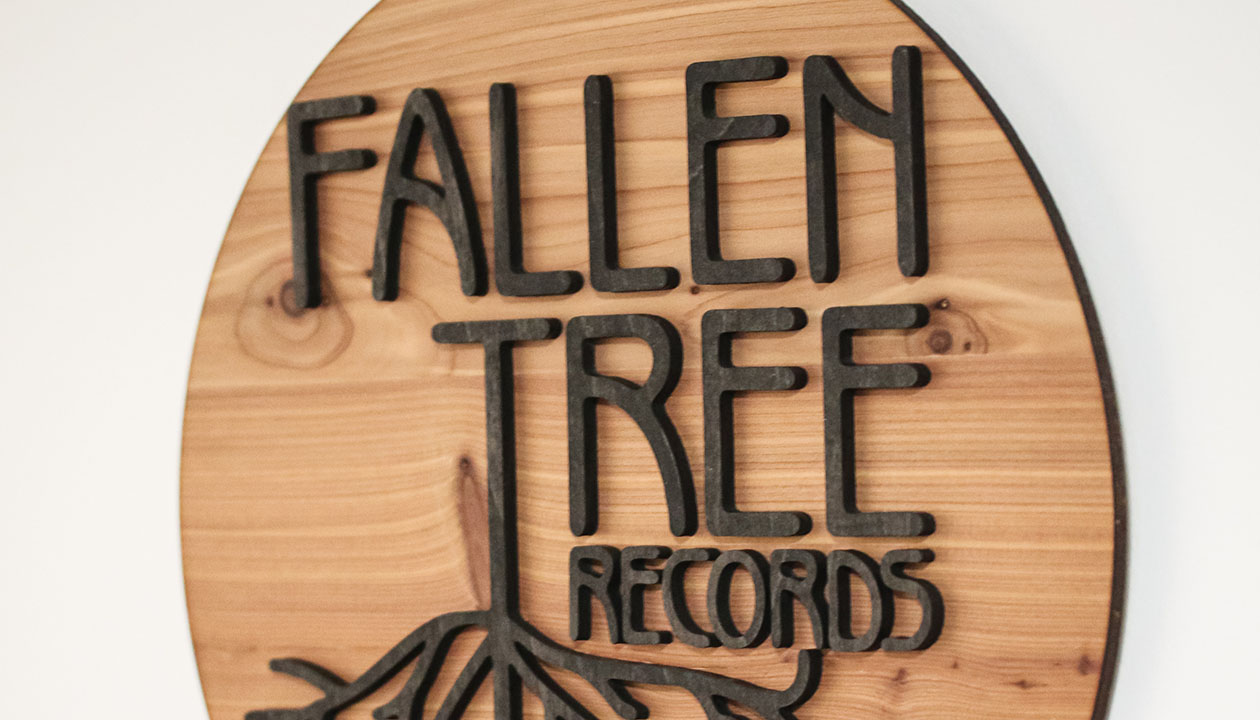 Fallen Tree Records logo in wood