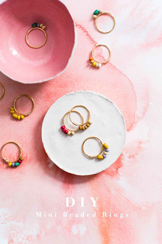 DIY Mini Beaded Rings | @fallfordiy