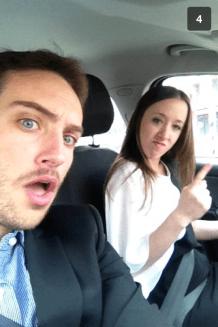 Snapchat on the way to our wedding hahaa
